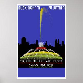Fuente de Buckingham viaje del vintage de Chicag Poster