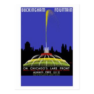 """""""Fuente de Buckingham, viaje del vintage de Postal"""
