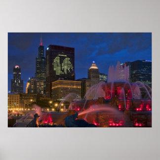 Fuente de Chicago Buckingham en lona Poster