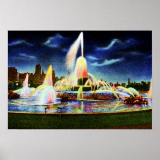 Fuente de Chicago Illinois Buckingham en la noche Impresiones