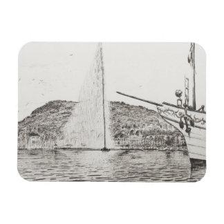 Fuente de Ginebra y arco del barco de placer 2011 Imán Flexible