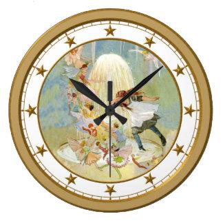 Fuente de hadas reloj redondo grande