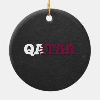 Fuente de la bandera de Qatar Adorno Redondo De Cerámica