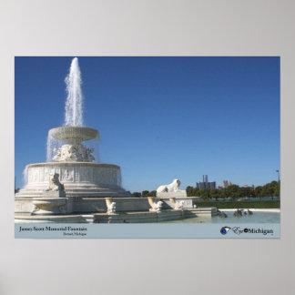 Fuente de la isla de la belleza - Detroit, MI Posters