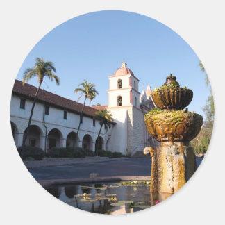 Fuente de la misión de Santa Barbara Etiqueta Redonda