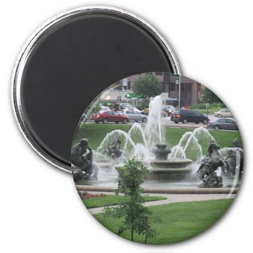 Fuente de la plaza de Kansas City Imán Redondo 5 Cm