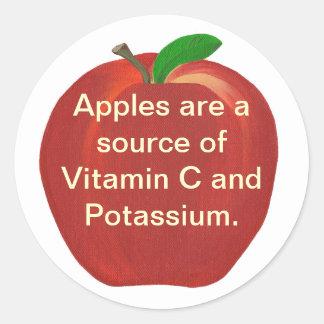 Fuente de las manzanas de vitamina C, pegatinas Pegatina Redonda