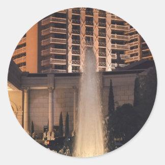 Fuente de Las Vegas en night_.jpg Pegatina Redonda