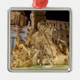 Fuente de los 4 ríos, plaza Navona, Roma Adorno Cuadrado Plateado