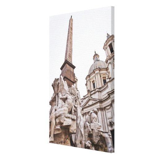 Fuente de los cuatro ríos y obeliscos impresiones de lienzo