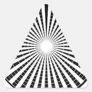 Fuente de luz - rueda blanca negra de la chispa de pegatina triangular