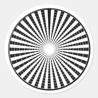 Fuente de luz - rueda blanca negra de la chispa de pegatina redonda