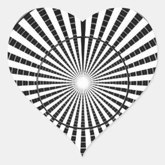 Fuente de luz - rueda blanca negra de la chispa de pegatina en forma de corazón
