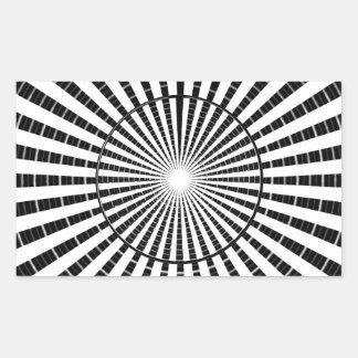 Fuente de luz - rueda blanca negra de la chispa de pegatina rectangular