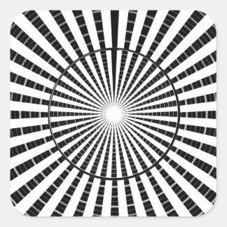 Fuente de luz - rueda blanca negra de la chispa de pegatina cuadrada