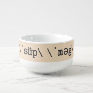 Fuente de máquina de escribir con llave de la cuenco para sopa