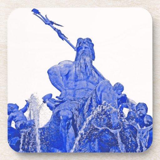 Fuente de Neptunes, Alexanderplatz, Berlín, azul ( Posavasos De Bebidas