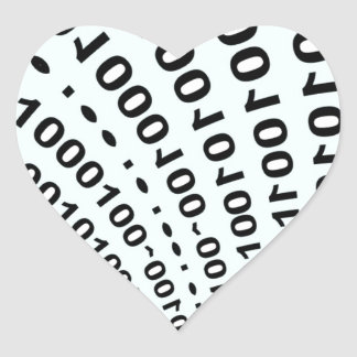fuente del código binario de secreto pegatina en forma de corazón
