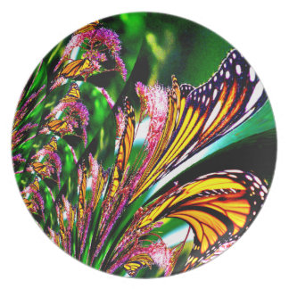 Fuente del diseño del fractal de las mariposas platos