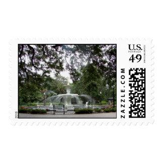 Fuente del parque de Forsyth - franqueo Sellos