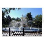 Fuente del parque de Forsyth, sabana, Georgia, tar Felicitaciones