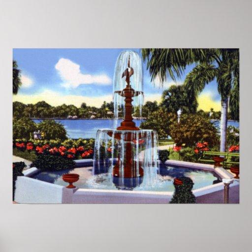 Fuente del parque de Orlando la Florida Eola Poster