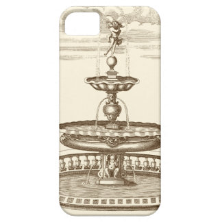 Fuente del patio con la querube ornamental iPhone 5 fundas