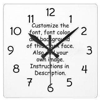 Fuente del personalizar, color de la fuente, fondo reloj cuadrado