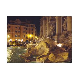 Fuente del Trevi en Roma en la noche Impresión En Lona Estirada