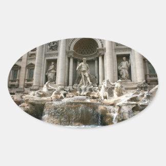 Fuente del Trevi (Fontana di Trevi) - Roma Pegatina De Óval