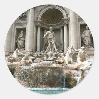 Fuente del Trevi (Fontana di Trevi) - Roma Etiqueta Redonda