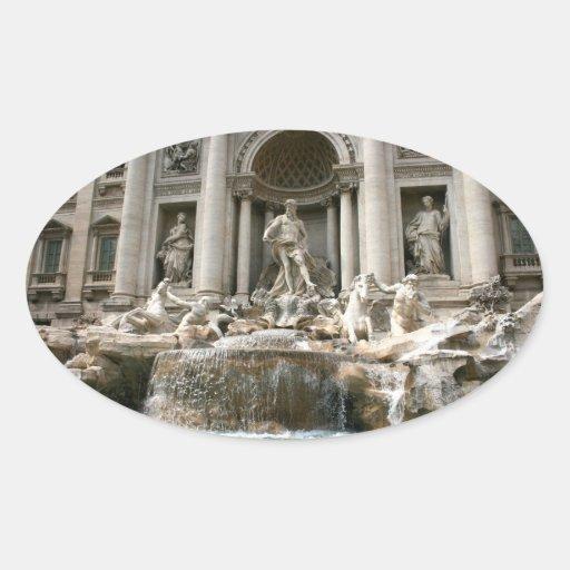 Fuente del Trevi (Fontana di Trevi) - Roma Pegatina Ovalada