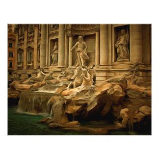 "Fuente del Trevi que pinta Roma Folleto 8.5"" X 11"""