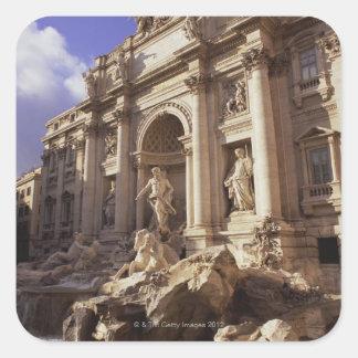 Fuente del Trevi, Roma, Italia Calcomania Cuadradas Personalizadas