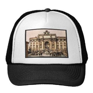 Fuente del Trevi, vintage Photochrom de Roma, Ital Gorros