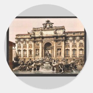 Fuente del Trevi, vintage Photochrom de Roma, Pegatinas Redondas