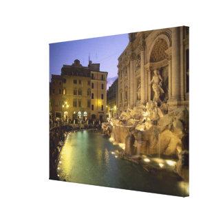 Fuente en la noche Roma Lazio Italia del Trevi Impresión En Lona