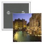 Fuente en la noche, Roma, Lazio, Italia del Trevi Pin Cuadrada 5 Cm
