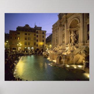 Fuente en la noche, Roma, Lazio, Italia del Trevi Póster