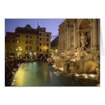 Fuente en la noche, Roma, Lazio, Italia del Trevi Tarjeta De Felicitación