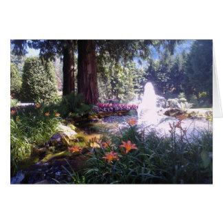Fuente escénica del jardín y de agua tarjeta de felicitación