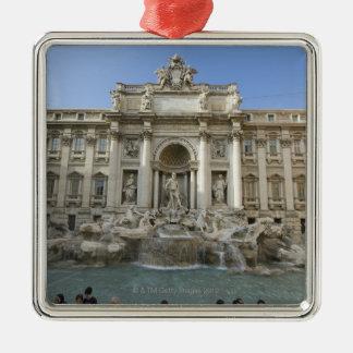 Fuente histórica del Trevi en Roma, Italia Adorno Cuadrado Plateado