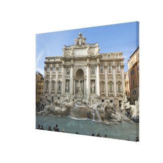 Fuente histórica del Trevi en Roma, Italia Lona Envuelta Para Galerias