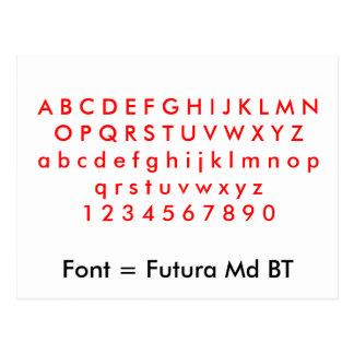 Fuente = letras del alfabeto del Md BT de Futura, Tarjetas Postales
