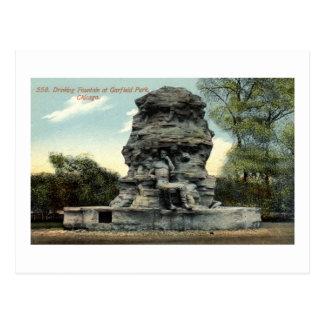 Fuente, parque de Garfield, vintage de Chicago IL Postales