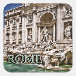 Fuente Roma Italia del Trevi Calcomania Cuadradas Personalizada