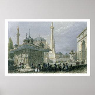 Fuente y cuadrado de St. Sophia, Estambul, engra Impresiones