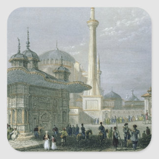 Fuente y cuadrado de St. Sophia, Estambul, engra Pegatinas Cuadradases Personalizadas