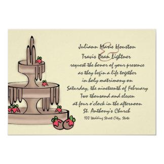 Fuente y fresas del chocolate invitaciones personalizada