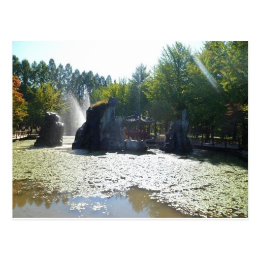 Fuente y Gazebo, isla de Nami, Corea Postal